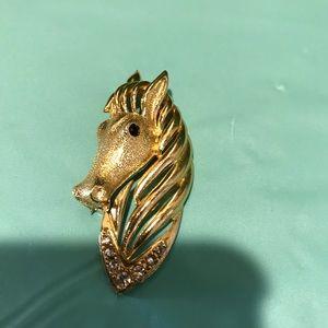 Vintage Gerry's gold tone horse head brooch